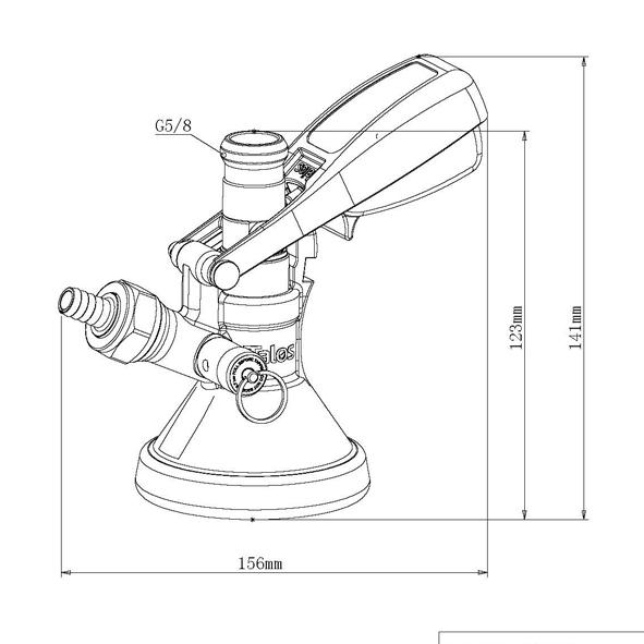 Dibujo técnico conector tipo G con válvula de presión de latón barril cerveza Talos