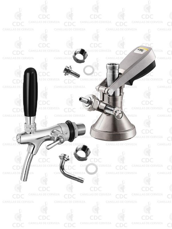 Canilla doble acción con compensador de espuma + Conector G con válvula TALOS en combo al mejor precio