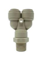 Rosca macho 1/4″ BSP a 2 salidas de 3/8″ Fluidfit